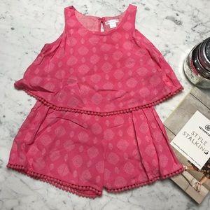 xhilaration Pink Printed Sleeveless Shorts Romper